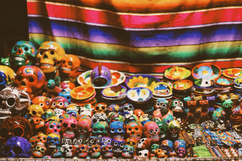 Decorations for Dia de Muertos Altar