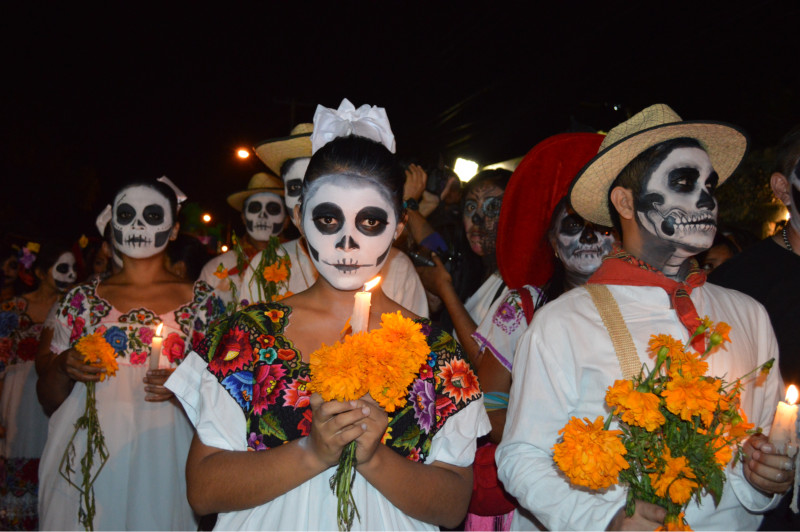 Lighting Candles for Day of the Dead